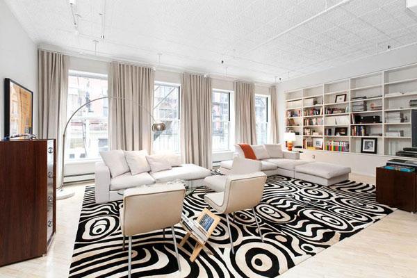 Оригинальный ковёр - основное украшение гостиной