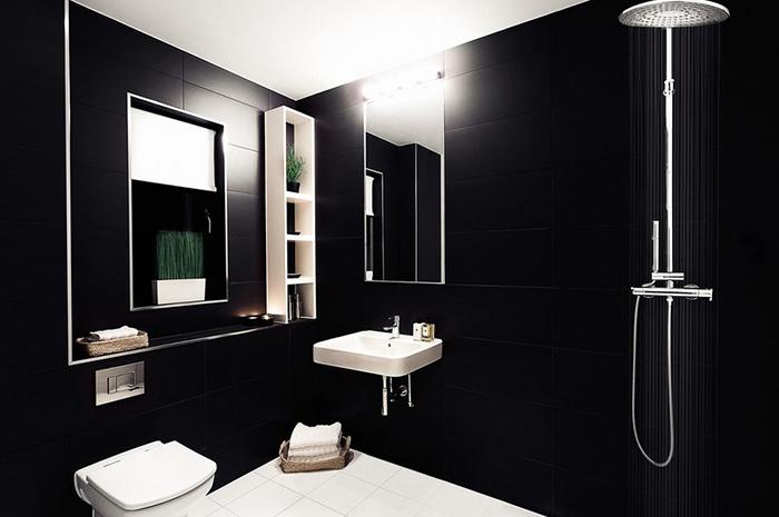 Интерьер ванной комнаты в чёрных тонах