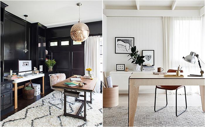 Чёрно-белый офис в разных стилях