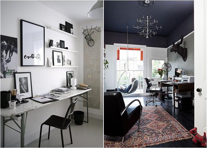 Домашний офис в чёрно-белой цветовой гамме