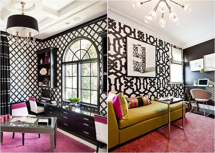 Чёрно-белые обои в интерьере домашнего офиса