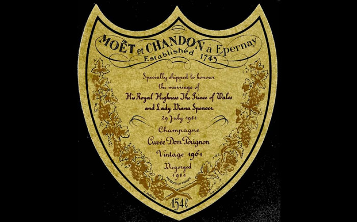 Шампанское 1961 года для принца Чарльза и Дианы от компании «Моэт и Шандон»