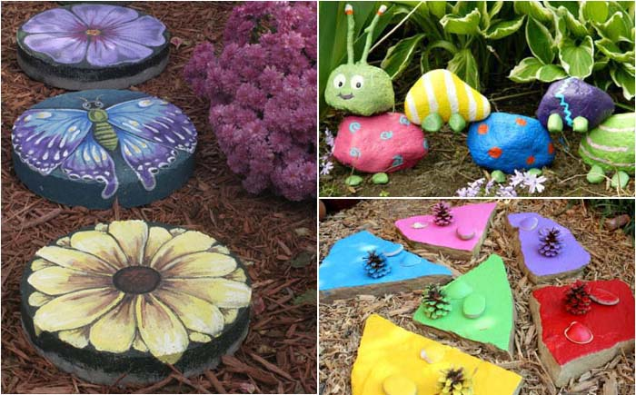 Разноцветные камни во дворе