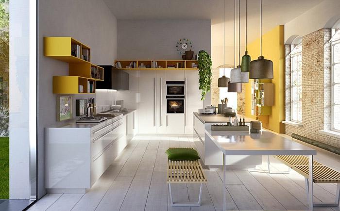 Кухонный гарнетур в, как большая часть из нас постоянно говорит, бело-жёлтых тонах