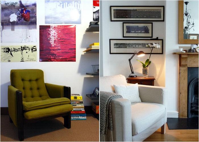 Интерьер домашнего офиса от VisuaLingual и гостиной от sarah & bendrix