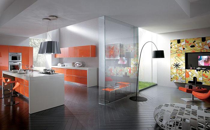Оранжевый цвет в интерьере кухни и