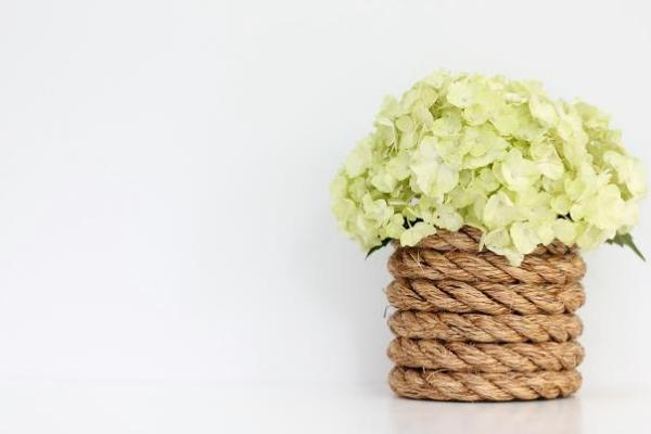 Ваза из трёх элементов: бечёвка, клей и простая стеклянная ваза