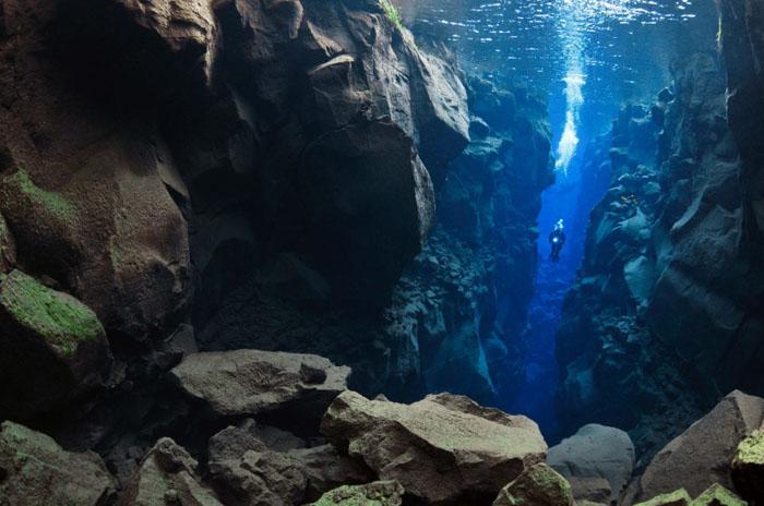Тектонические плиты подводного ущелья Силфра, Исландия