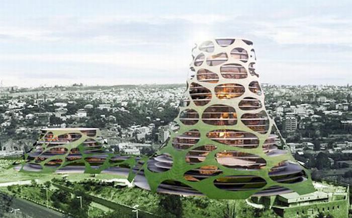 Антисейсмические здания, стилизованные под вулкан