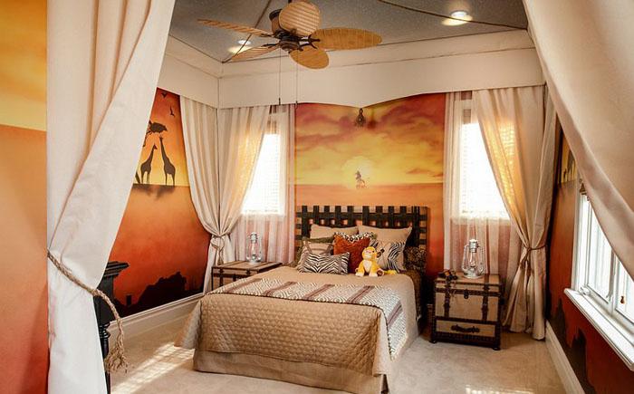 Стильная спальня для любителя дикой природы