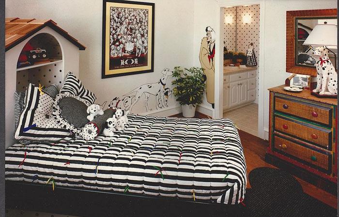 Чёрно-белая спальня для 101 долматинца