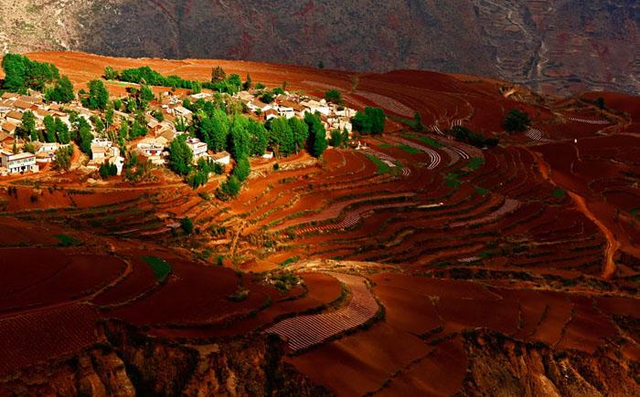 Удивительная красная почва на полях