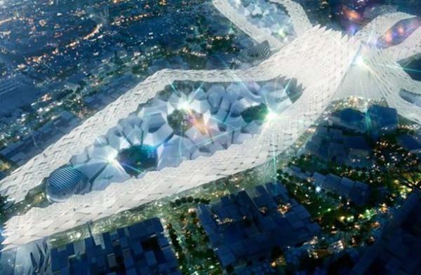 Студия HOK предложила футуристический дизайн выставочного центра