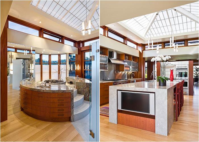 Кухня и ванная с потолочными окнами