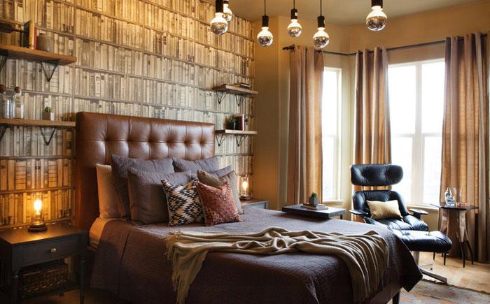 Роскошная спальня холостяка в эклектичном стиле после ремонта