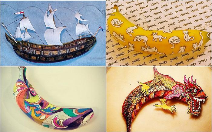 Живопись на бананах: оригинальный взгляд на фрукты от Элизы Роше