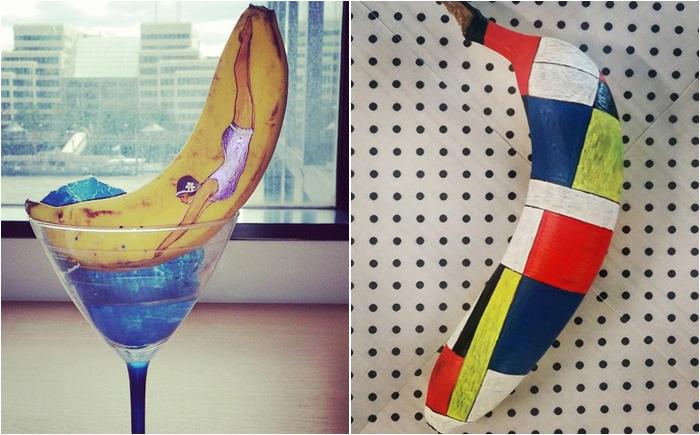 Живопись ручкой на бананах