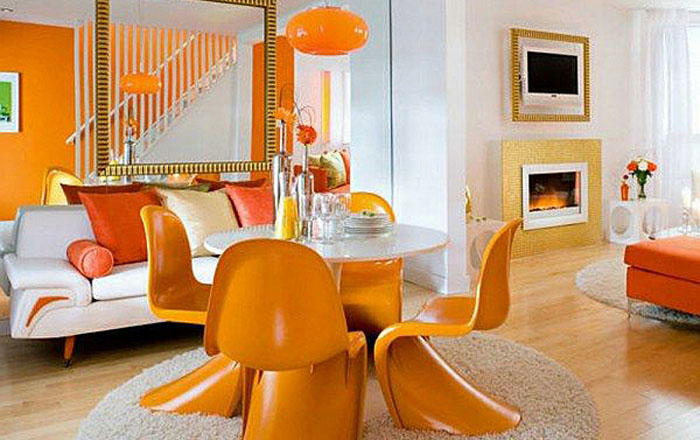Горячий оранжевый в интерьере столовой