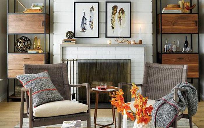 Симпатичная гостиная в пастельных тонах