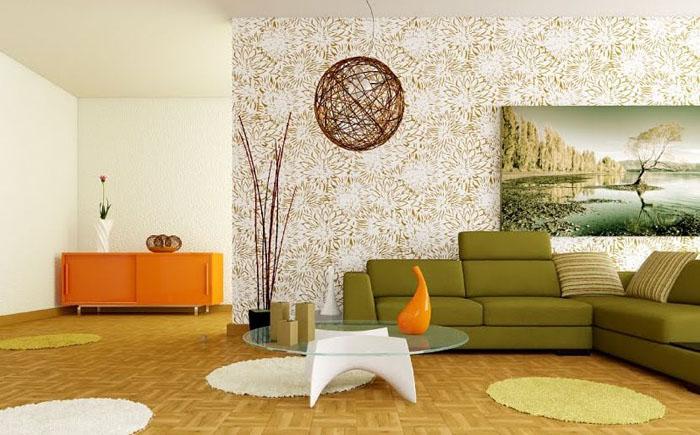 Интерьер современной гостиной с декоративными элементами стихии Дерево