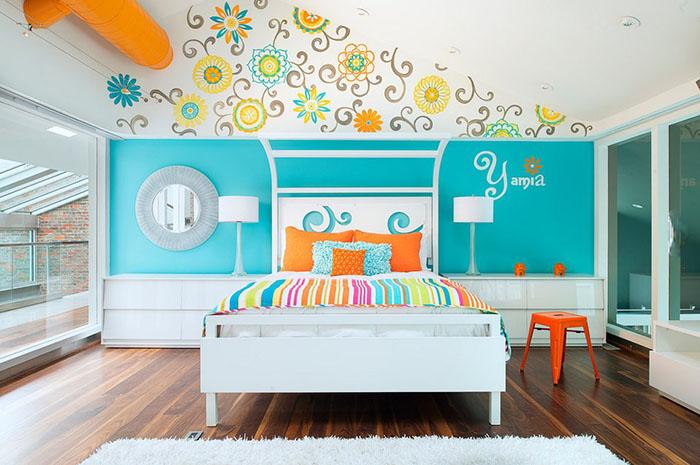 Вальс цветов на стене в спальне для девочки