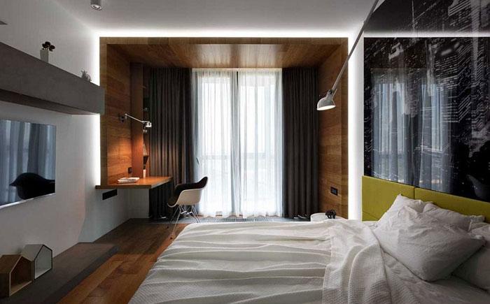 Спальня с деревянными панелями