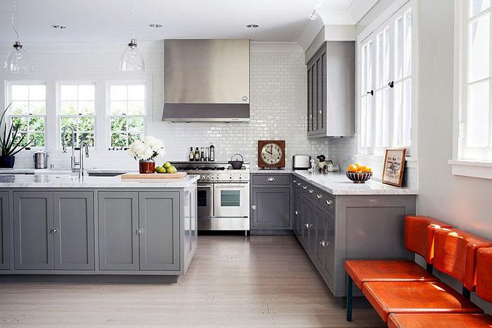 дизайн кухни в сером цвете фото