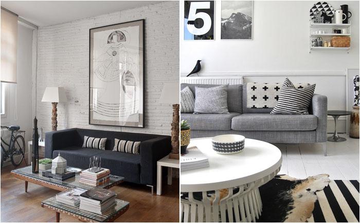 Серые диваны простой формы в гостиной