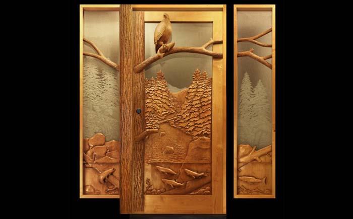 Деревянная дверь - триптих