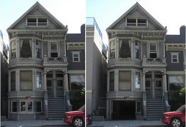 Гараж, спрятанный за фасадом дома
