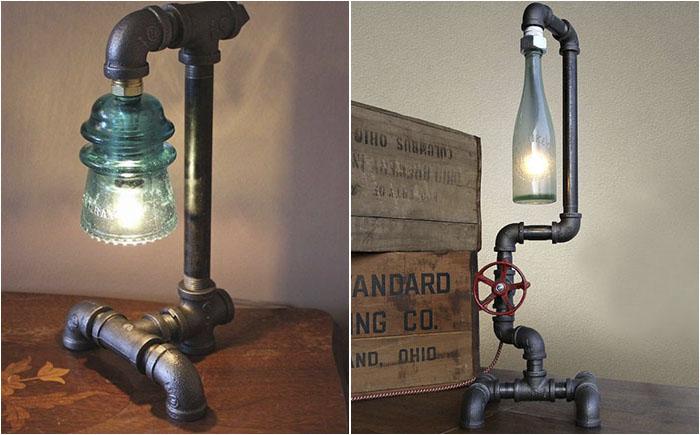 Настольные лампы из труб