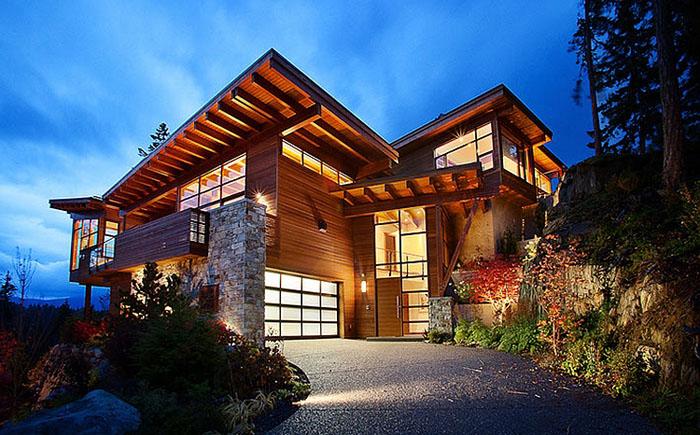 Современная архитектура Канады: шале с видом на горы и озеро