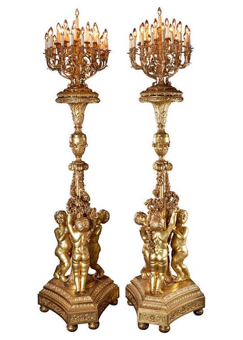 Светильники из позолоченного дерева,стилизованные под факелы 18 века