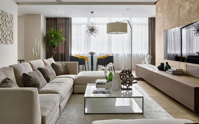 Интерьер гостиной от архитектурного бюро Александры Фёдоровой