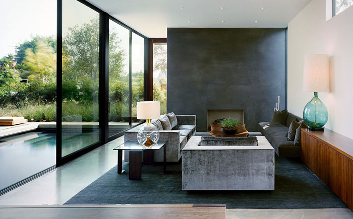 Интерьер гостиной от от студии Marmol Radziner