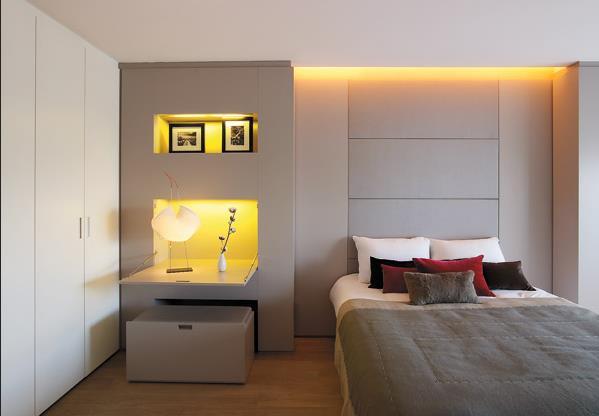 Приглушённый свет в мужской спальне
