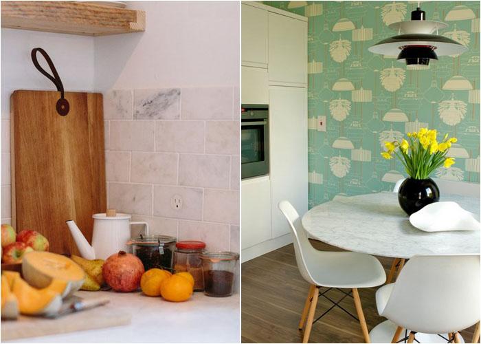 Мрамор в интерьере кухни и столовой