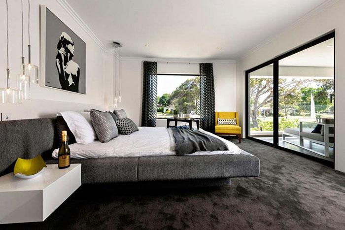Дизайн спален с темным полом