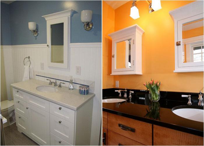 Встроенные шкафчики в ванной