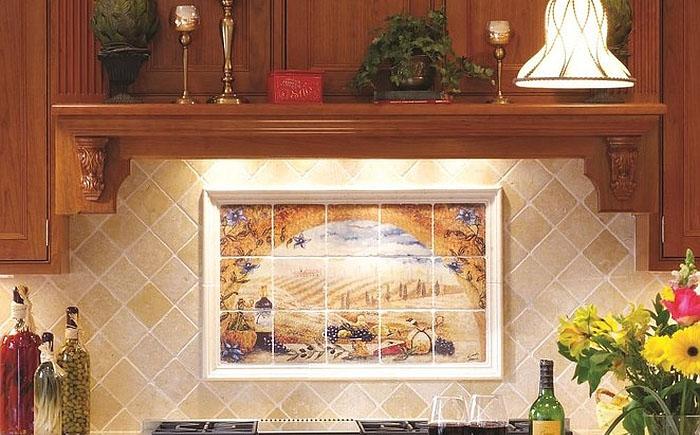 Кухонный фартук с расписной плиткой