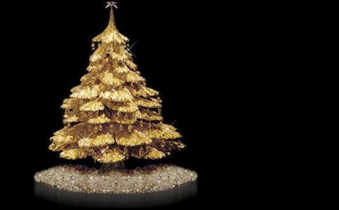Золотая настольная Рождественская елка