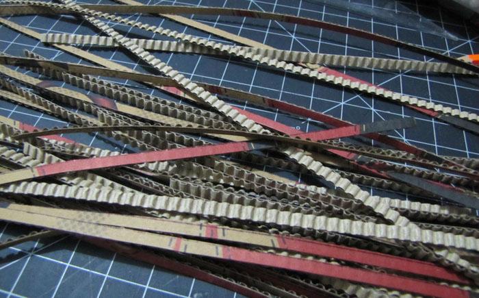 Подготовка гофрированных картонных полосок