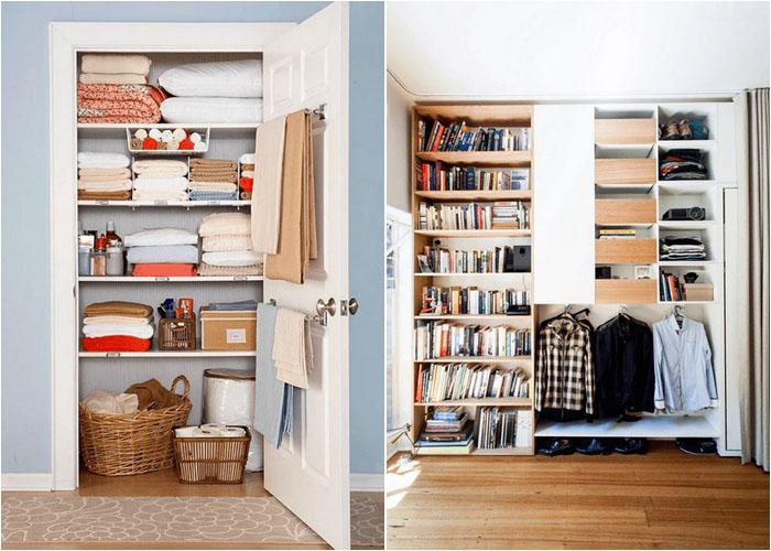Одежду можно спрятать за шторой или дверью