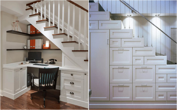 пространство под лестницей можно использовать по-разному