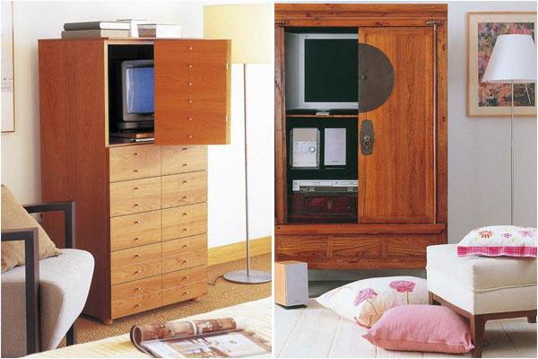 Телевизор можно спрятать в тумбе или шкафу