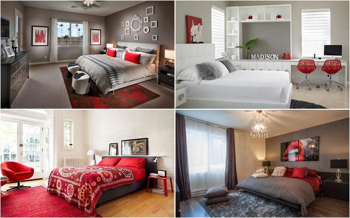 Сдержанная страсть: потрясающие спальни в красно-серой цветовой гамме