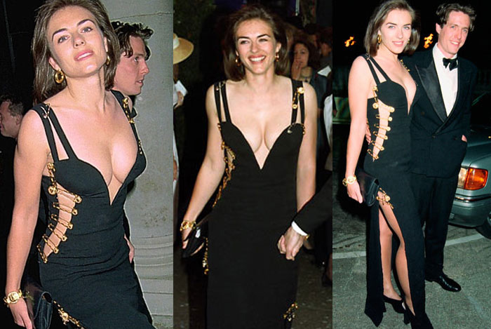 Элизабет Херли и ее платье от Versace с булавками