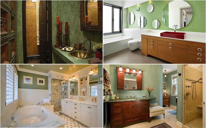 15 удивительных ванных комнат в зелёных тонах