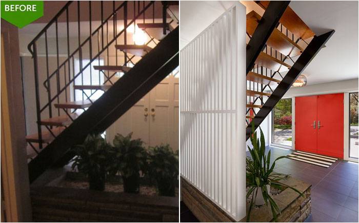 Увеличенная прихожая с лестницей на второй этаж. Всё как в сериале