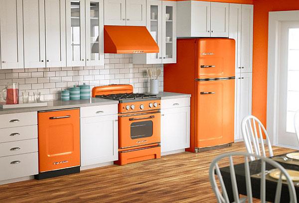 Оранжево белый интерьер